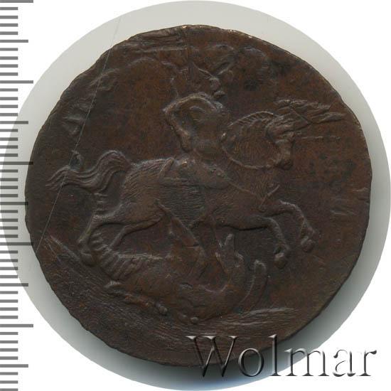 2 копейки 1757 г. Елизавета I. Номинал над св. Георгием. Гурт Екатеринбургского монетного двора