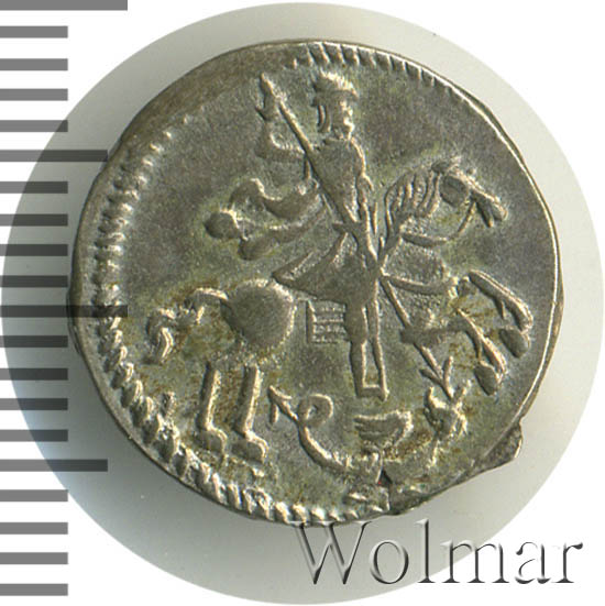 Алтын 1718 г. Петр I. Ник. Всадник в плаще. Тиражная монета