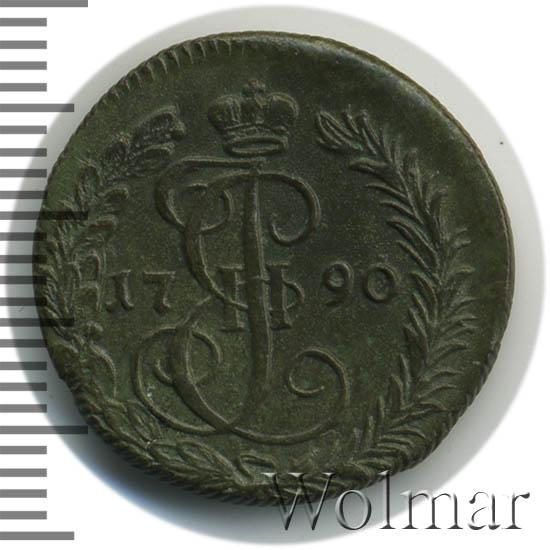 Денга 1790 г. КМ. Екатерина II. Буквы КМ