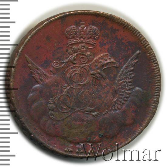 1 копейка 1756 г. ММД. Елизавета I. Орел в облаках. Красный монетный двор