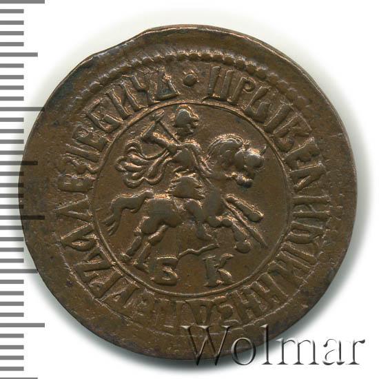 1 копейка 1707 г. БК. Петр I. Набережный монетный двор