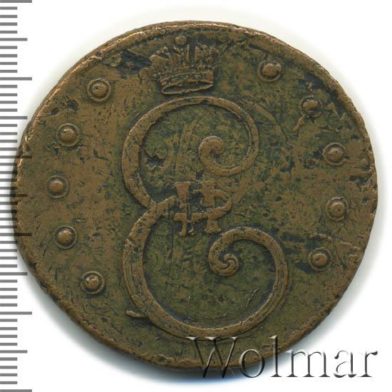 10 копеек 1796 г. Екатерина II. На лицевой стороне вензель. Цифры года расставлены. Сетчатый гурт