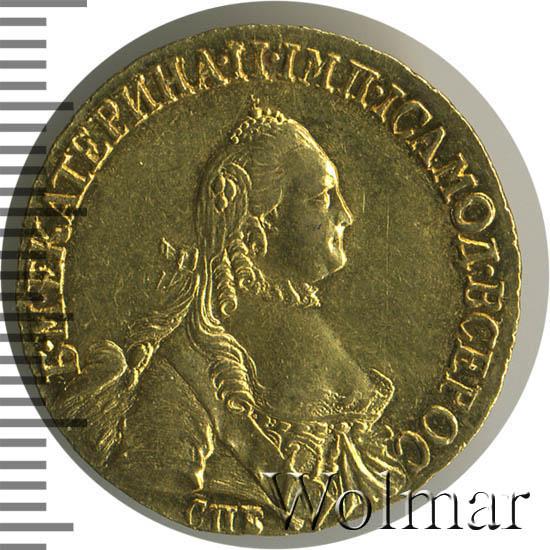 5 рублей 1765 г. СПБ ТI. Екатерина II Инициалы медальера T.I