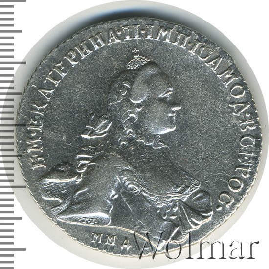 1 рубль 1765 г. ММД EI. Екатерина II. Инициалы минцмейстера EI