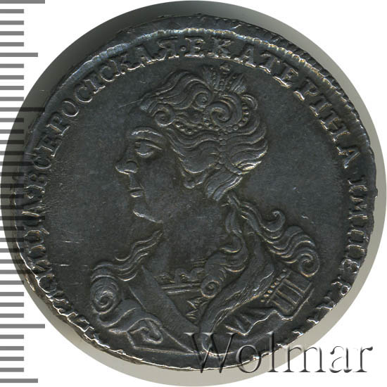 Полтина 1726 г. Екатерина I Красный тип, портрет влево