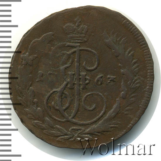 1 копейка 1763 г. ММ. Екатерина II. Буквы ММ