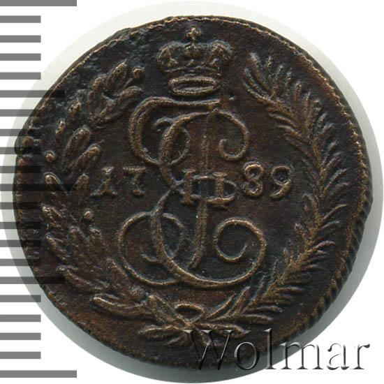Полушка 1789 г. КМ. Екатерина II Буквы КМ
