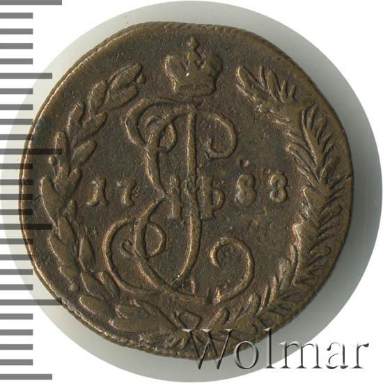 Денга 1788 г. КМ. Екатерина II. Буквы КМ