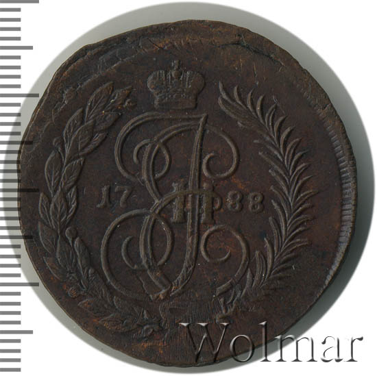 2 копейки 1788 г. ММ. Екатерина II. Буквы ММ. Гурт сетчатый