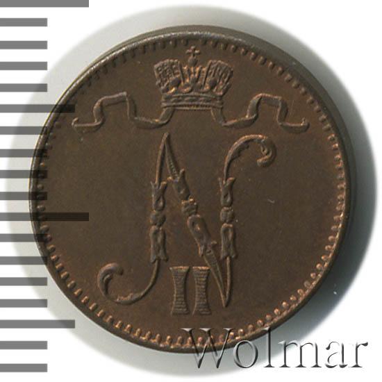 1 пенни 1909 г. Для Финляндии (Николай II).