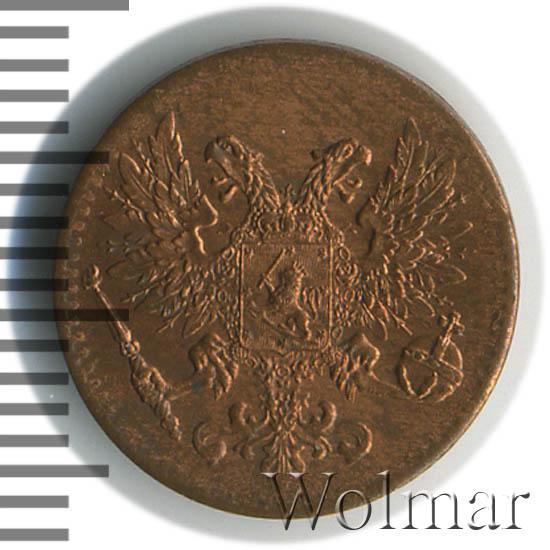 1 пенни 1917 г. Для Финляндии (Николай II). С гербовым орлом