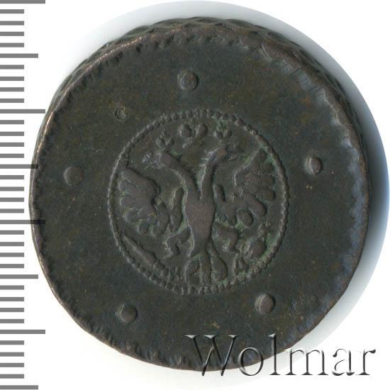 5 копеек 1727 г. КД. Екатерина I. ПЯТЬ КОПЪЯКЬ. Одна из точек над короной