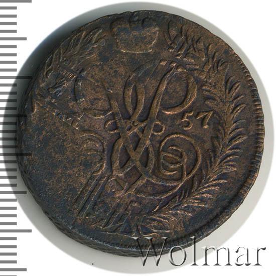 2 копейки 1757 г. Елизавета I Номинал над св. Георгием. Гурт Санкт-Петребургского монетного двора