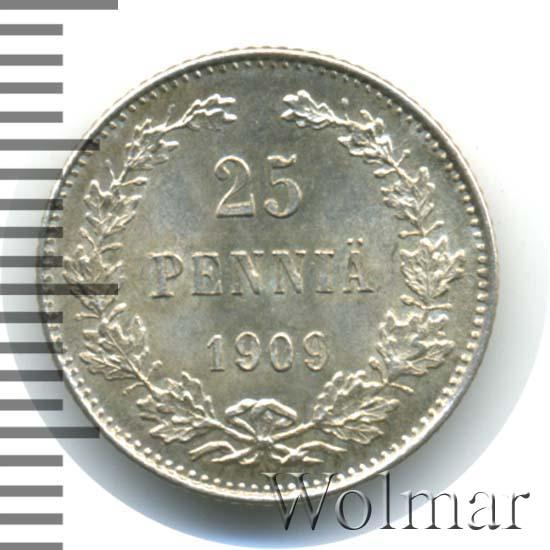 25 пенни 1909 г. L. Для Финляндии (Николай II).