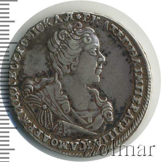 Полтина 1727 г. Екатерина I Красный тип, портрет вправо