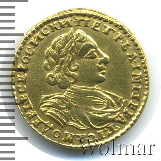 2 рубля 1723 г. Петр I. Портрет в латах. С пальмовой ветвью на груди