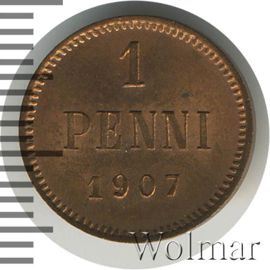 1 пенни 1907 г. Для Финляндии (Николай II).
