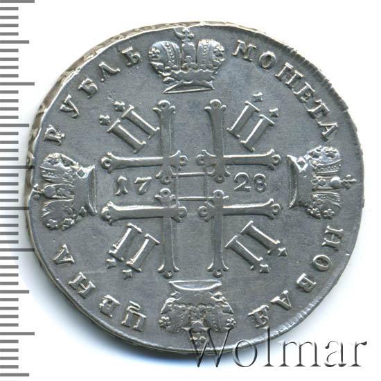 1 рубль 1728 г. Петр II Портрет разделяет надпись. Красный тип. Особый портрет. Без банта у лаврового венка