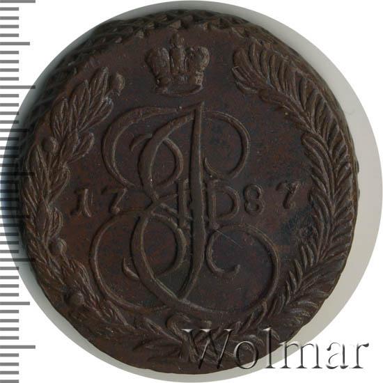 5 копеек 1787 г. ЕМ. Екатерина II. Шведская подделка. Короны королевские. ЕМ больше