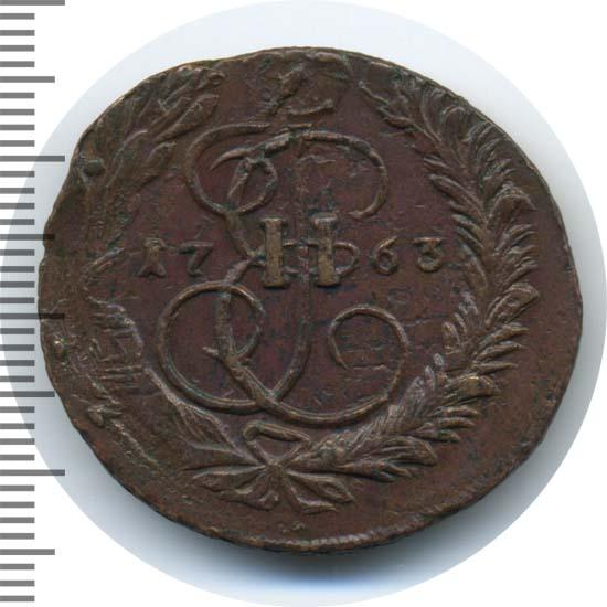 2 копейки 1763 г. ММ. Екатерина II Буквы ММ