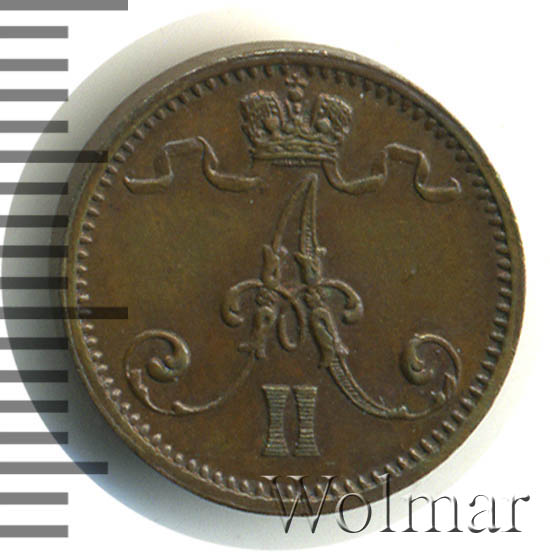 1 пенни 1872 г. Для Финляндии (Александр II).