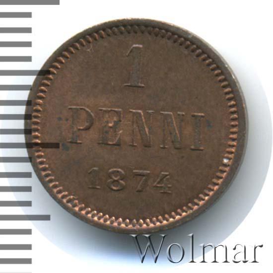 1 пенни 1874 г. Для Финляндии (Александр II).