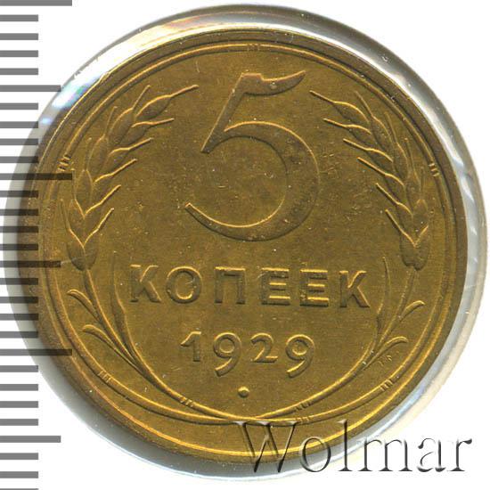 5 копеек 1929 г Поверхность земного шара плоская