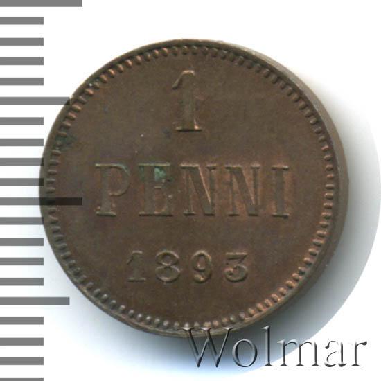 1 пенни 1893 г. Для Финляндии (Александр III).