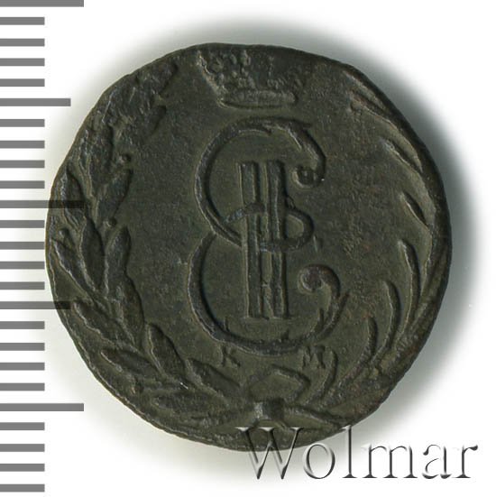 Денга 1771 г. КМ. Сибирская монета (Екатерина II) Тиражная монета