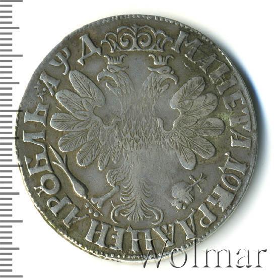 1 рубль 1704 г. Петр I. Портрет молодого Петра I. Хвост орла широкий. Корона открытая. Крест державы простой