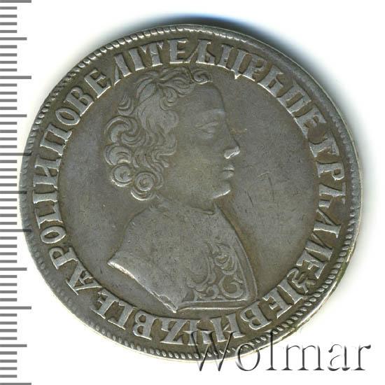 1 рубль 1704 г. Петр I Портрет молодого Петра I. Хвост орла широкий. Корона открытая. Крест державы простой