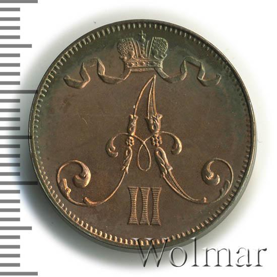 5 пенни 1889 г. Для Финляндии (Александр III)