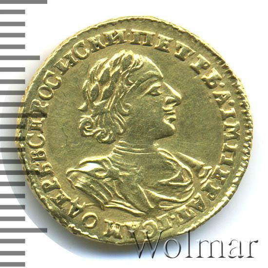 2 рубля 1722 г. Петр I Портрет в латах. С пальмовой ветвью на груди