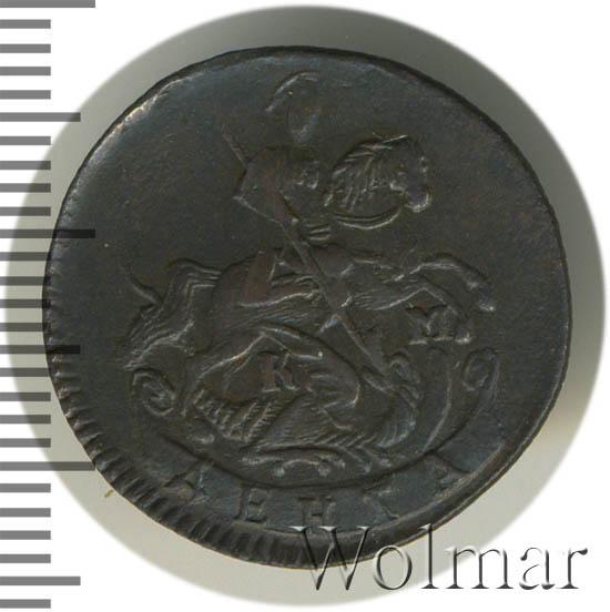Денга 1793 г. КМ. Екатерина II Буквы КМ