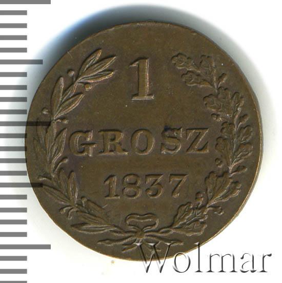 1 грош 1837 г. MW. Русско-Польские (Николай I). Хвост шире