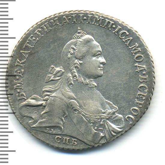 1 рубль 1765 г. СПБ СА. Екатерина II Инициалы минцмейстера СА