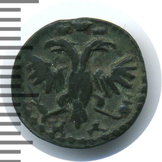 Полушка 1721 г. НД. Петр I Год арабский. Набережный монетный двор. Тиражная монета