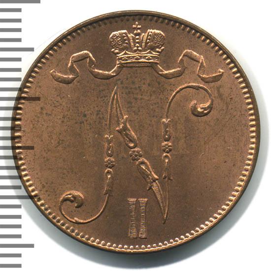 5 пенни 1908 г. Для Финляндии (Николай II).