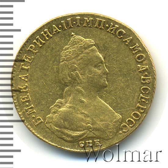 5 рублей 1785 г. СПБ. Екатерина II. Тиражная монета