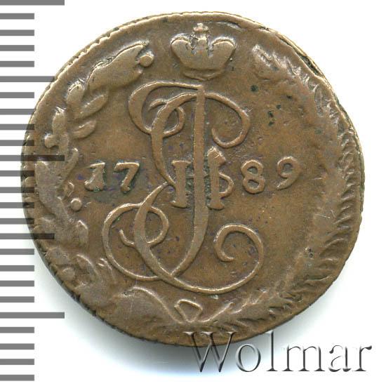 Денга 1789 г. ЕМ. Екатерина II. Буквы ЕМ
