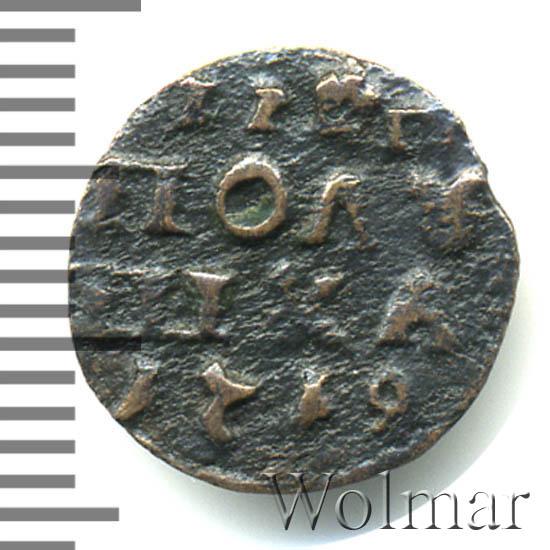 Полушка 1719 г. НД. Петр I. Год арабский. Набережный монетный двор
