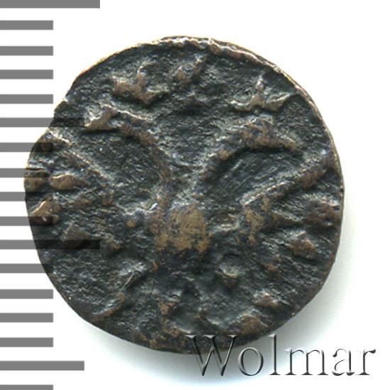 Полушка 1719 г. НД. Петр I Год арабский. Набережный монетный двор