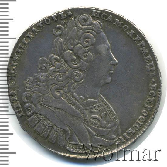 1 рубль 1727 г. Петр II Портрет разделяет надпись. Красный тип. На груди над орлом три короны