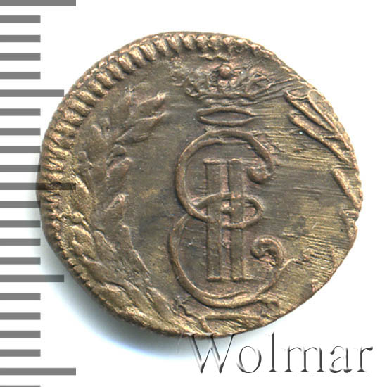 Полушка 1771 г. КМ. Сибирская монета (Екатерина II). Тиражная монета