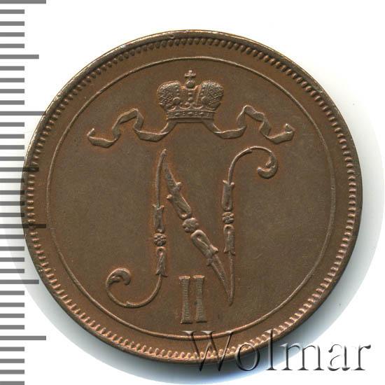10 пенни 1917 г. Для Финляндии (Николай II). С вензелем Николая II