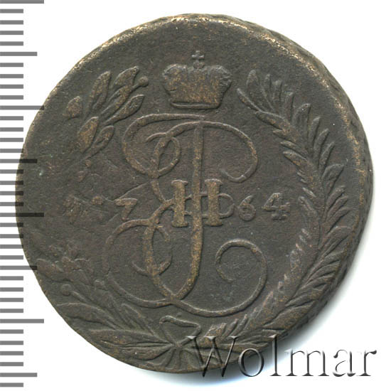2 копейки 1764 г. Сибирская монета (Екатерина II) Шнуровидный гурт