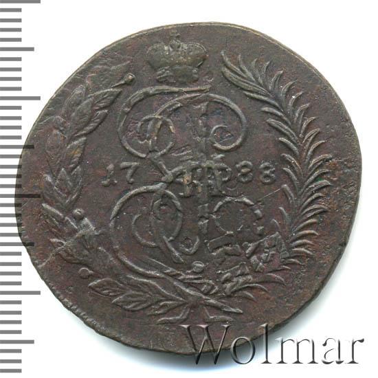 2 копейки 1788 г. ММ. Екатерина II Буквы ММ. Гуртовая надпись