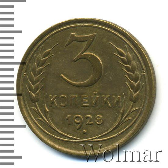 3 копейки 1928 г. Поверхность земного шара плоская, к бойку молота снизу подходит 1 меридиан