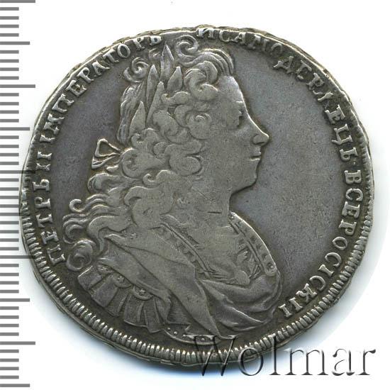 1 рубль 1729 г. Петр II Портрет разделяет надпись. Красный тип. Голова разделяет надпись