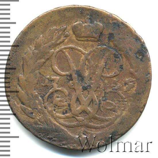 2 копейки 1759 г. Елизавета I Номинал над св. Георгием. Гурт Московского монетного двора